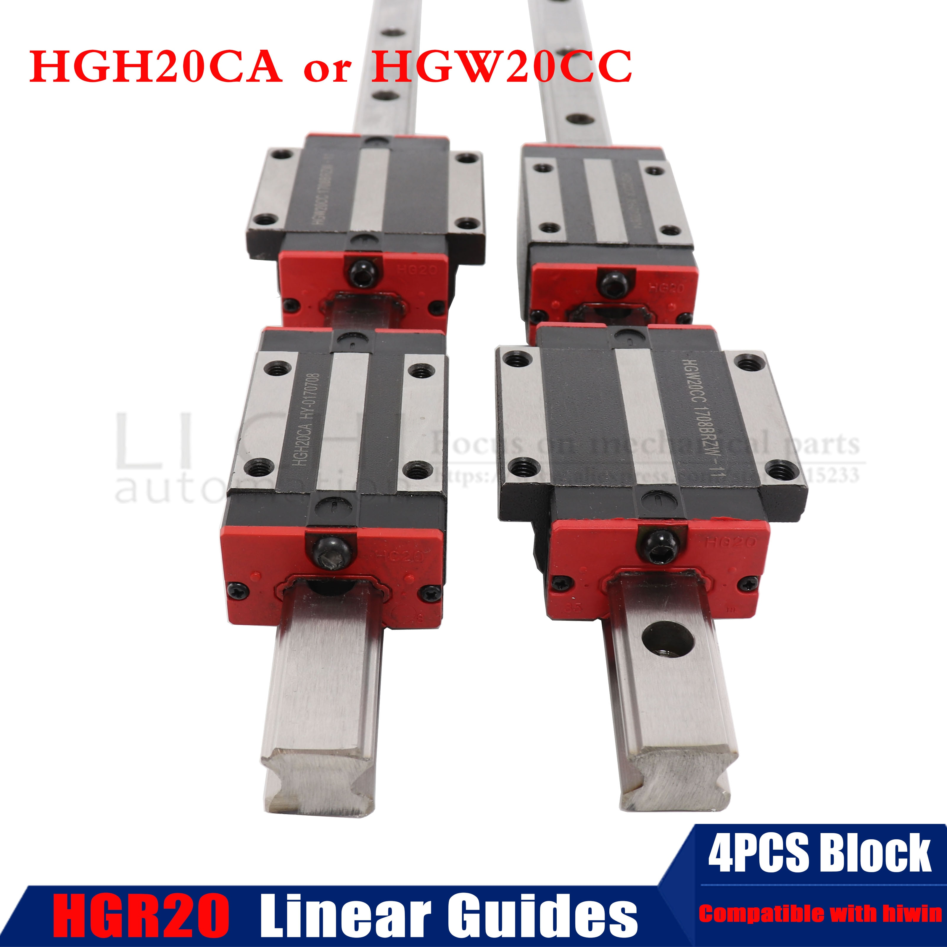 2 قطعة HGH20 مربع الخطي دليل السكك الحديدية أي طول 1100-1500 مللي متر + 4 قطعة الشريحة كتلة عربات HGH20CA/HGW20CC CNC الحفر الموجه