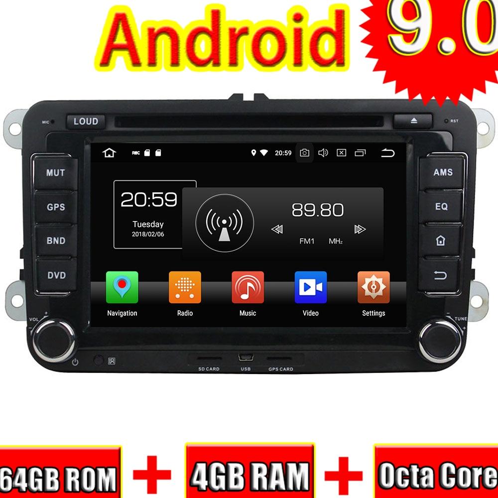Topnavi Android 9,0, reproductor de DVD para coche, Unidad Principal para VW PASSAT Golf TOUAREG Santana Jetta Seat/CC Radio Estéreo 2 DIN navegación GPS