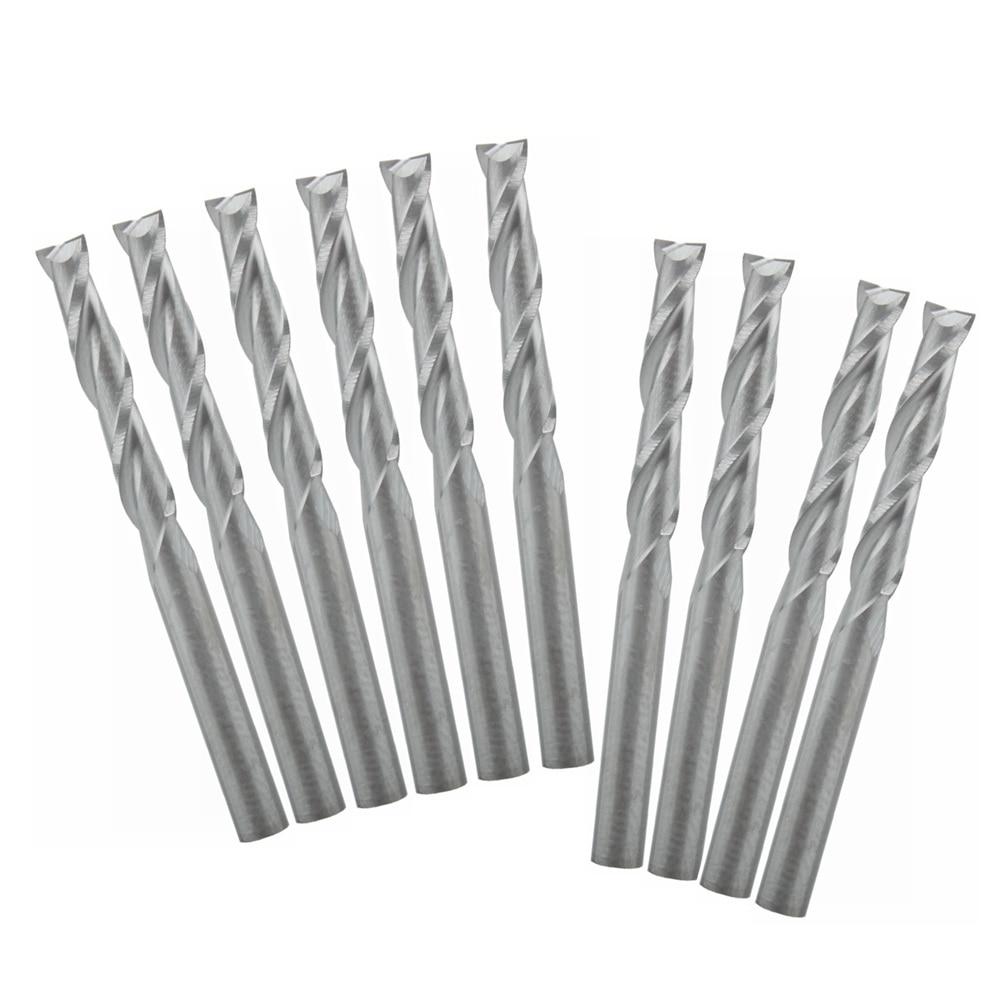 "10 piezas doble flauta espiral CNC enrutador brocas 1/8 ""3.175X17mm herramienta de grabado"