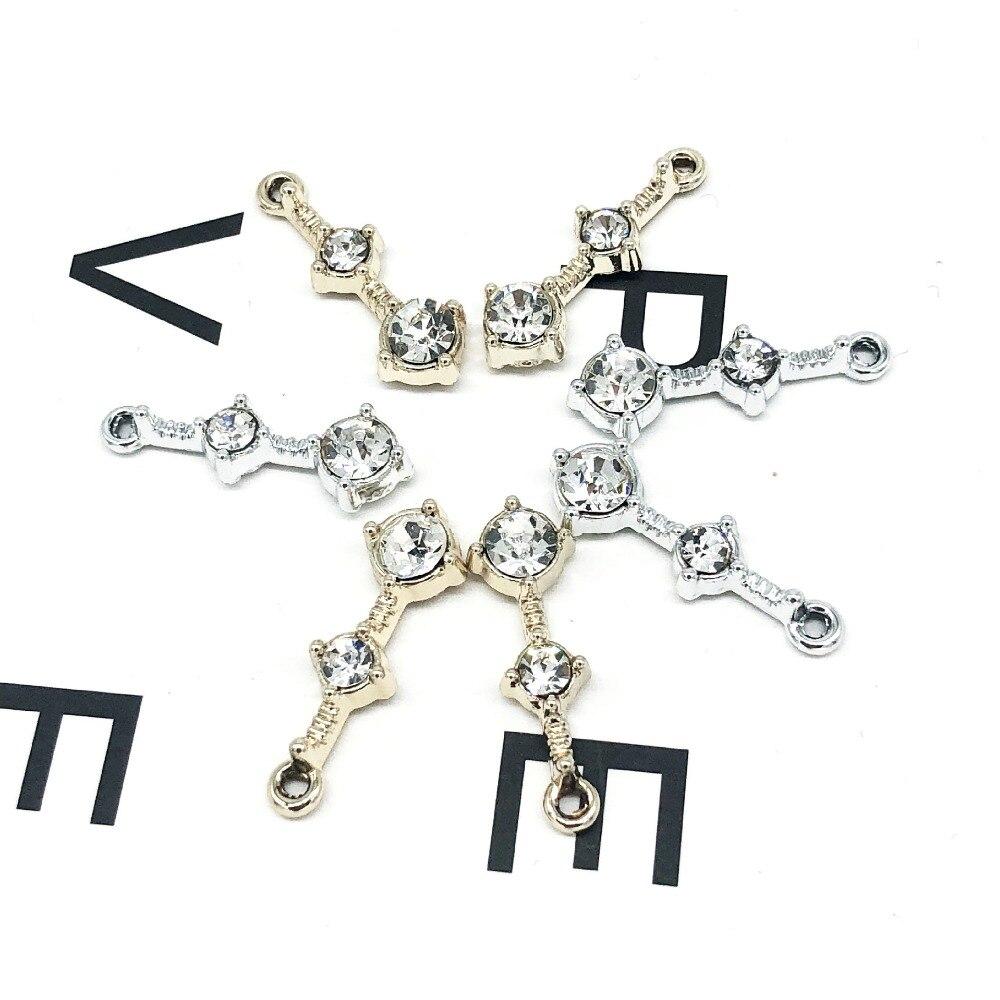 10 piezas de encantos regalo de corazón de diamantes de imitación colgante de aleación de pulsera de collar de accesorios de joyería DIY de galvanoplastia no se desvanece