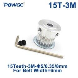 Polia cronometrando do furo 5mm 6.35mm 8mm para a largura 6mm 3 m correia síncrona htd3m polia 15 dentes 15 t