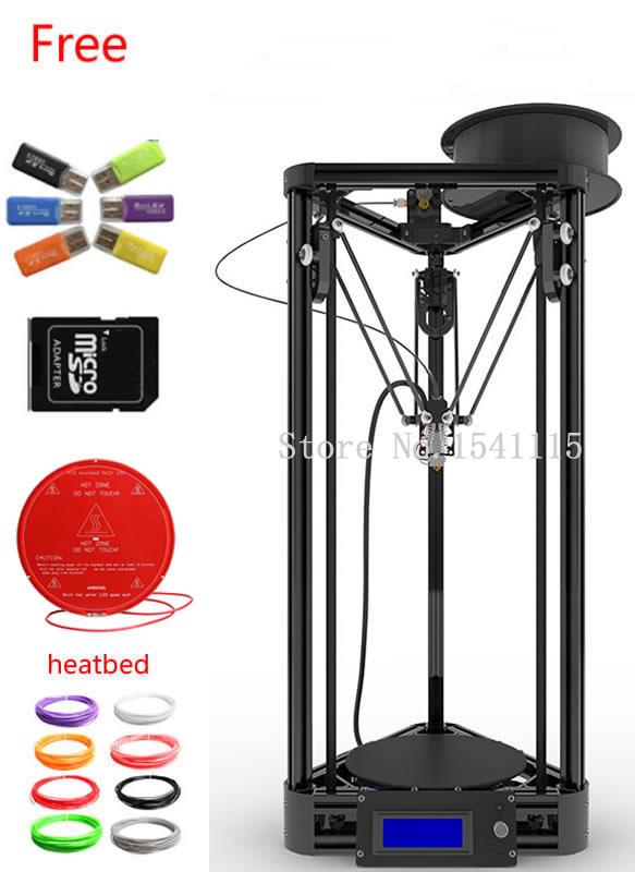 Reprap Delta Rostock Mini 3D Printer Machine impressora DIY Kit LCD 2015 Display Kossel Printer 3d