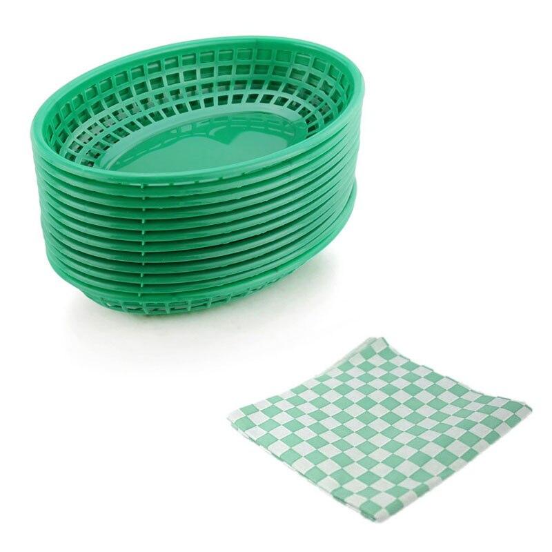 Cesta ovalada de plástico para servir comida de 12 Uds. 24 Uds., papel de envolver a cuadros negro, cesta para papas fritas, plato para servir pícnic