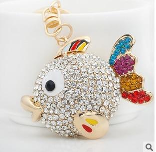 Pez tropical de diamantes de imitación/llavero de peixe/dijes de bolso de joyería de lujo coreano/chaveiro carro/llaveros mujeres/porte clef strass/baratija