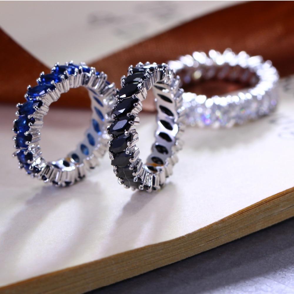Nuevos diseños de anillos de boda de forma redonda para señoras de oficina de Grado Superior anillo azul de Zirconia propuesta de matrimonio regalo Dropshipping