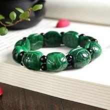Yu xin yaun véritable jade tortue coquille main chaîne séchée vert or tortue bracelet tendance