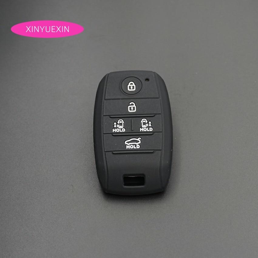 Xinyuexin Silikon Gummi Schlüssel Abdeckung FOB Fall für KIA Grand Karneval Smart Keyless Key Jacke Fall Auto-styling Abdeckung 5 tasten
