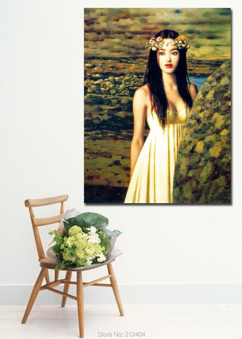 Regalo chica China en campos verde-el arte de cuerpo de la pintura de aceite por China artistas impreso sobre lienzo arte de pared casa decoración de la pared