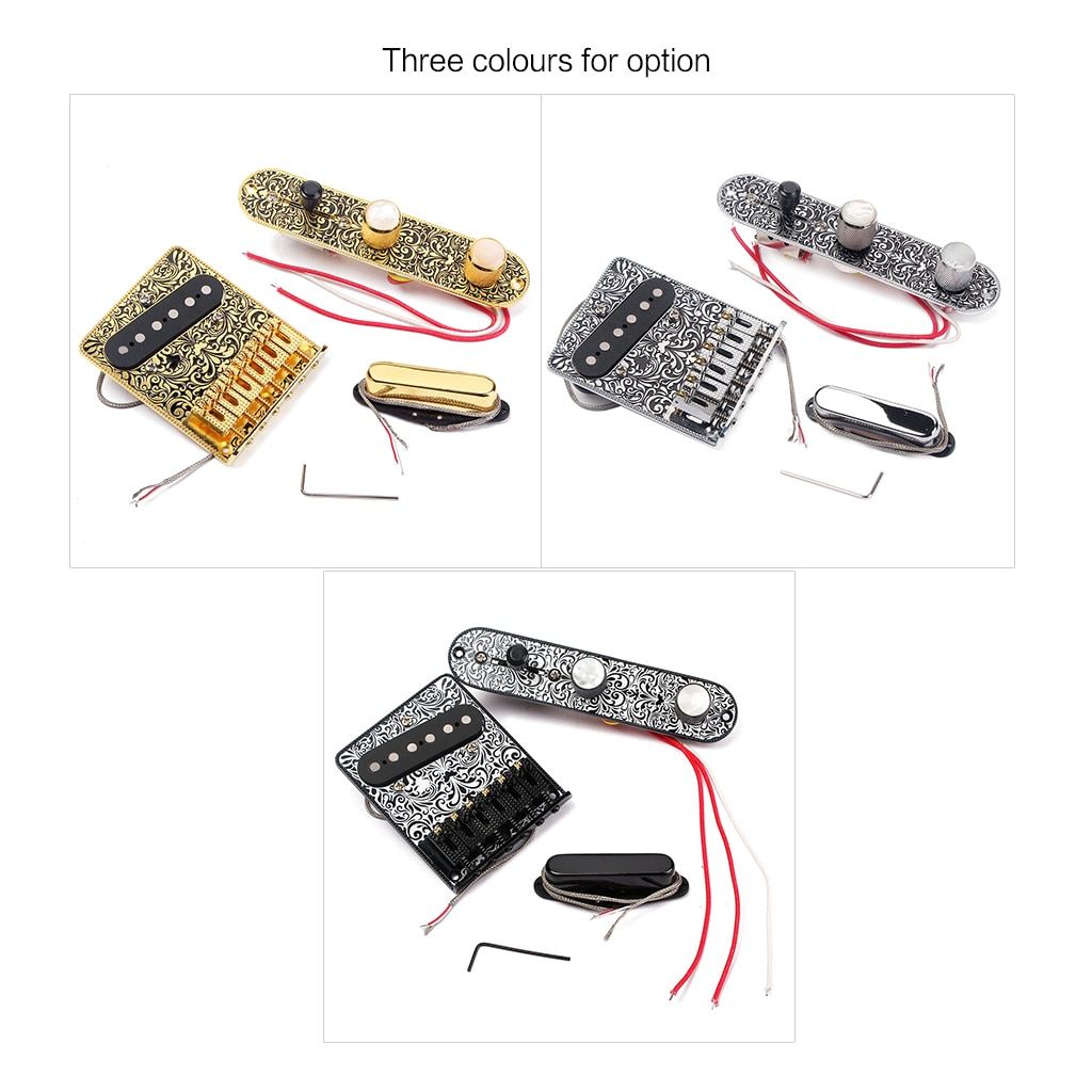 Guitarra eléctrica de alta calidad, conjunto de 6 cuerdas de carga para puente con interruptor de 3 vías, placa de Control, hermoso patrón decorativo