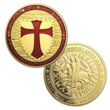 Moedas banhado a ouro, 5 pçs/lote, cavaleiros templar cruz maçônica moeda de ouro, embalagem em uma cápsula de plástico duro + saco opp