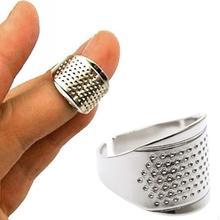 1 pc casa costura diy ferramentas anel de prata dedal dedo protetor quilting artesanato acessórios de costura dedais anel ajustável