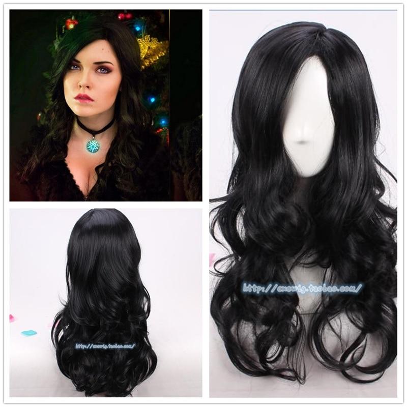 Las mujeres papel juego negro Cosplay del pelo ondulado Peluca de El Brujo Yennefer de Vengerberg negro ondulado peluca
