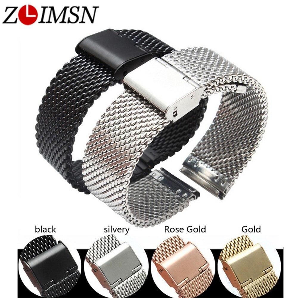 ZLIMSN Milan Uhrenarmbänder Ersatz 20 22 24mm Silber Gold Rose Gold Schwarz Uhr Armbänder Edelstahl Uhren Hombre 2019