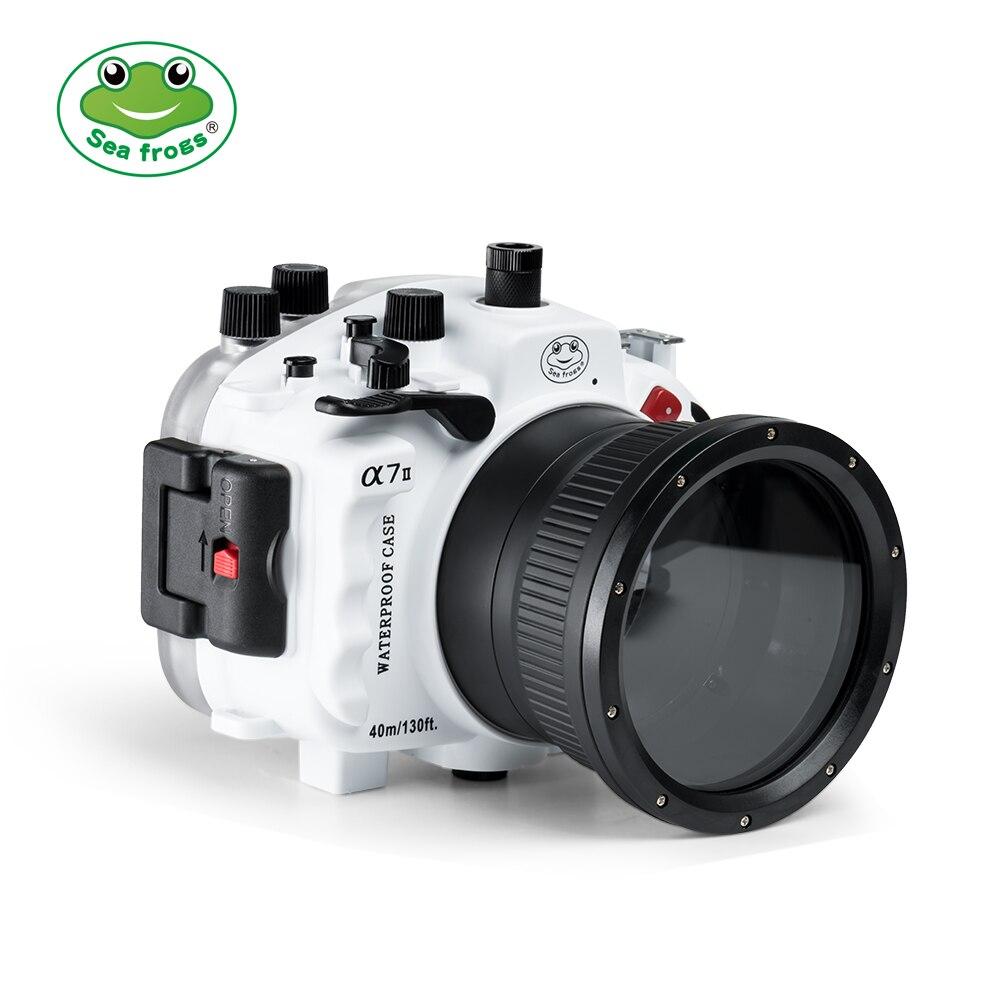 Seafrogs 40m 130ft funda carcasa impermeable subacuática para Sony A7II soporte 90mm, 16-35mm, 28-70mm lente con mango