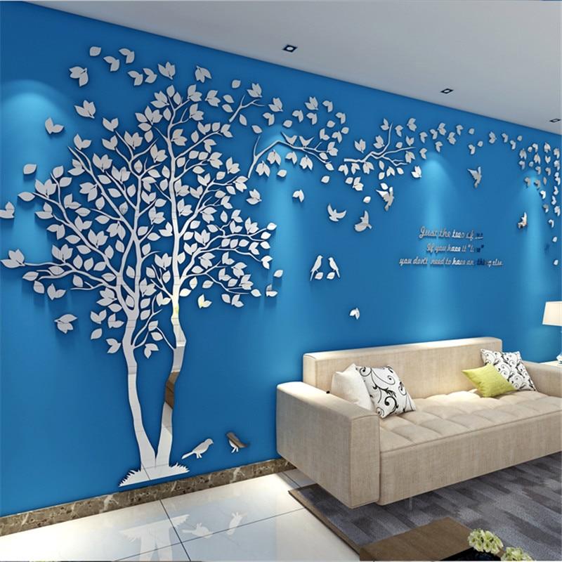 مرآة حائط أكريليك ثلاثية الأبعاد لشجرة ثلاثية الأبعاد ، ملصقات ، ملصق حائط ، خلفية تلفزيون ، فن DIY ، ديكور منزلي ، غرفة نوم ، غرفة معيشة
