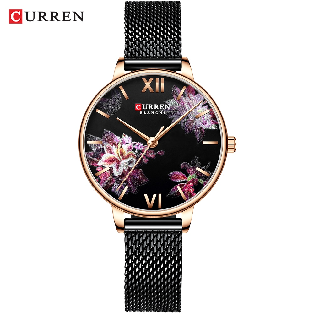CURREN 2019 Elegant Lady Watches Flower Slim Black Mesh Steel Band Bracelet Rose Gold Quartz Waterproof Women Fashion Wristwatch enlarge