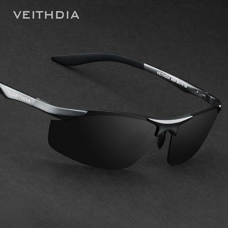 Marca VEITHDIA, gafas de sol de aluminio sin montura para hombre, gafas de sol polarizadas para hombre, gafas de sol para hombre 6529
