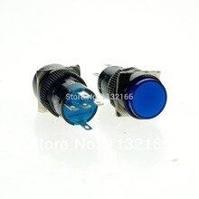 Interrupteur à bouton-poussoir SPST   10 pièces/12V/24V/110V/220V pour choisir la lampe de pilote 16mm, trou bleu 1NO 1NC Contact, 5 broches, interrupteur à bouton-poussoir momanisé SPST