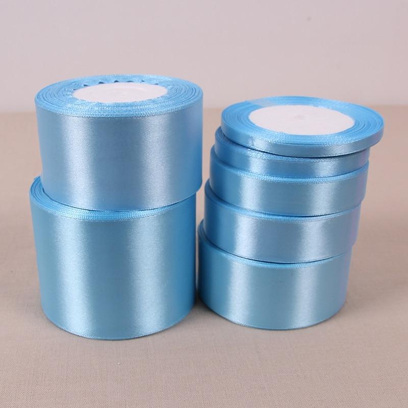 (25 yardas/rollo) cinta de raso azul de una sola cara venta al por mayor de cintas de Navidad 70 para envolver regalos
