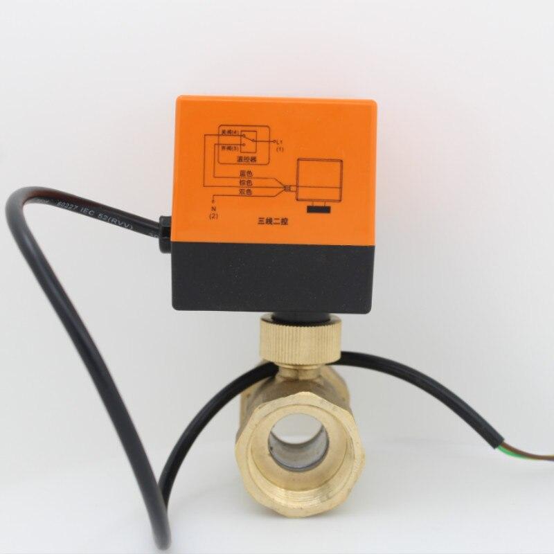 AC24V AC220V actuador eléctrico válvula de bola de latón frío y caliente agua/vapor de agua/calor de gas 2 vías válvula de bola motorizada de latón DN15-DN32