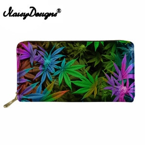 Noisydesigns Women Wallets Casual Pu Leather Coin Case Purse Girls Money Wallet Clutch Purse Female Leaves Coin Purses Holders