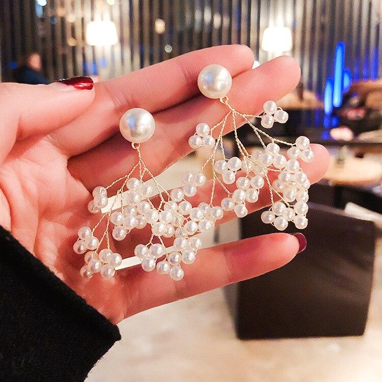 2019 Japão e Coréia Do Sul jóias da moda hot mão-tecido ramo pérola brincos brincos de festa de casamento branco elegante para mulheres