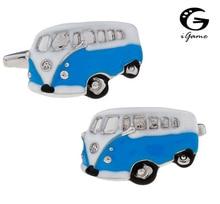 IGame Vintage Wagon boutons de manchette qualité laiton matériel bleu couleur Bus conception livraison gratuite