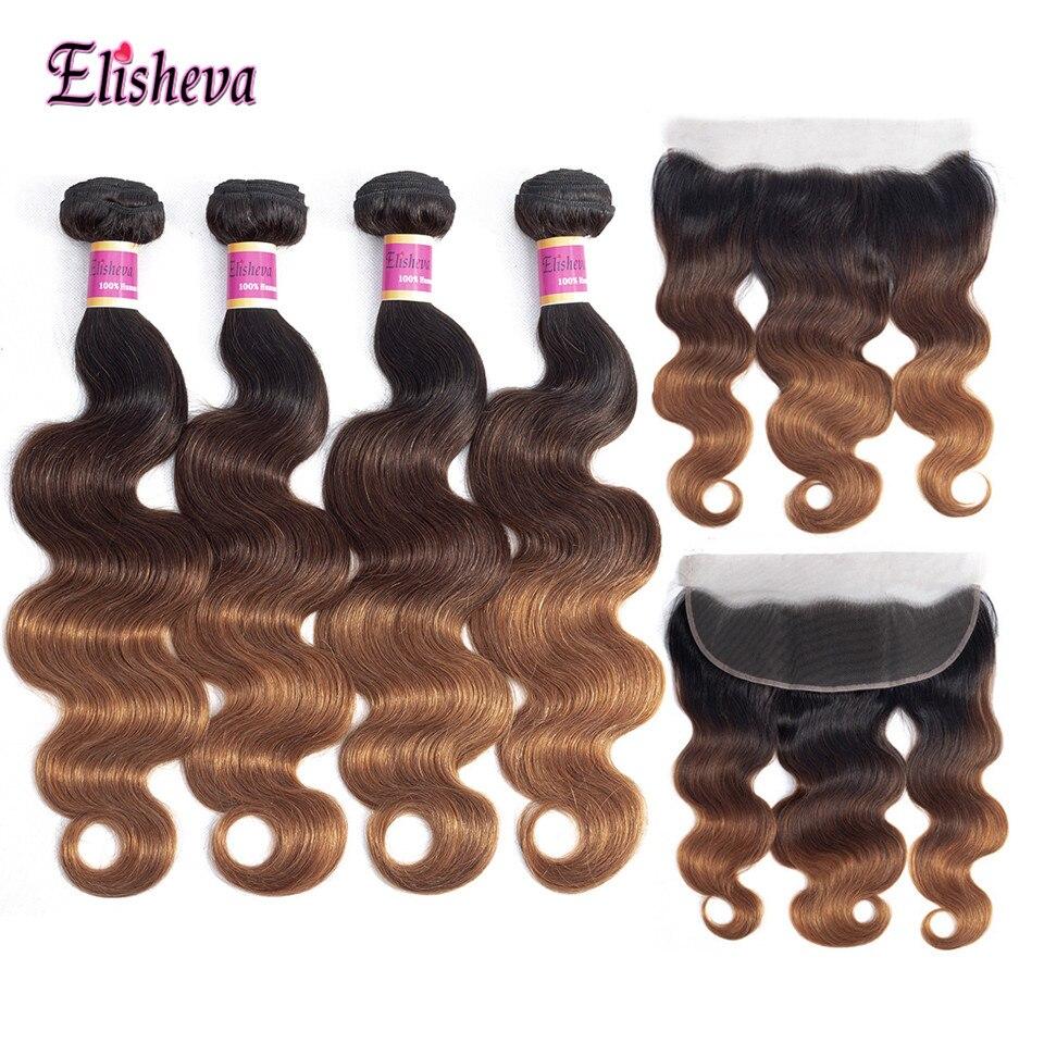 Elisheva ombre pacotes com fechamento frontal onda do corpo peruano ombre cabelo humano 4 pacotes com orelha a orelha fechamento não remy