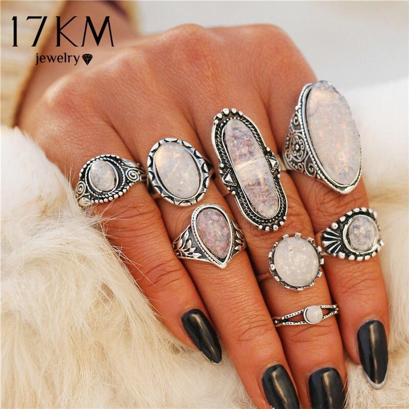 17KM New Design Vintage Opal Knuckle Rings Set For Women Boho Geometric Pattern Flower Rings Party Bohemian Jewelry 8 PCS/Set