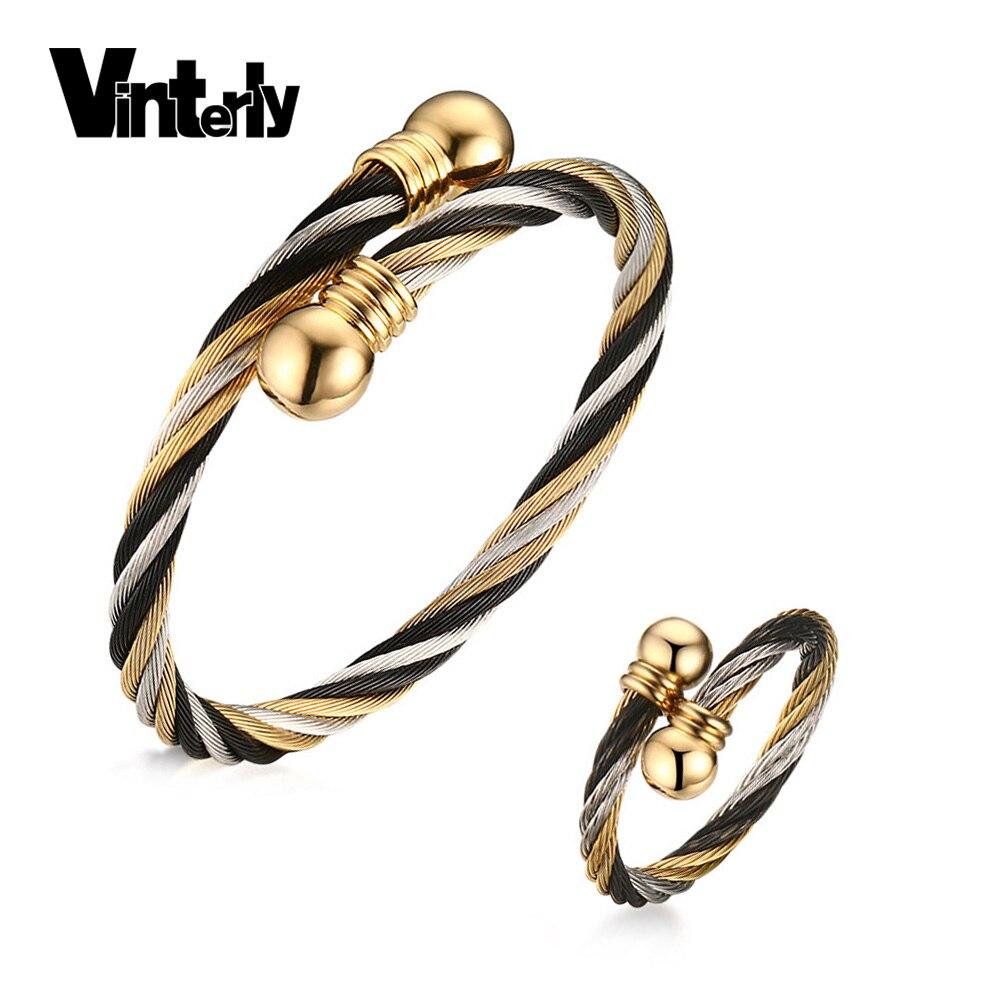 Vinterly черный золотой цвет проволока Шарм комплект ювелирных изделий из нержавеющей стали браслет кольцо для мужчин может регулируемый разм...