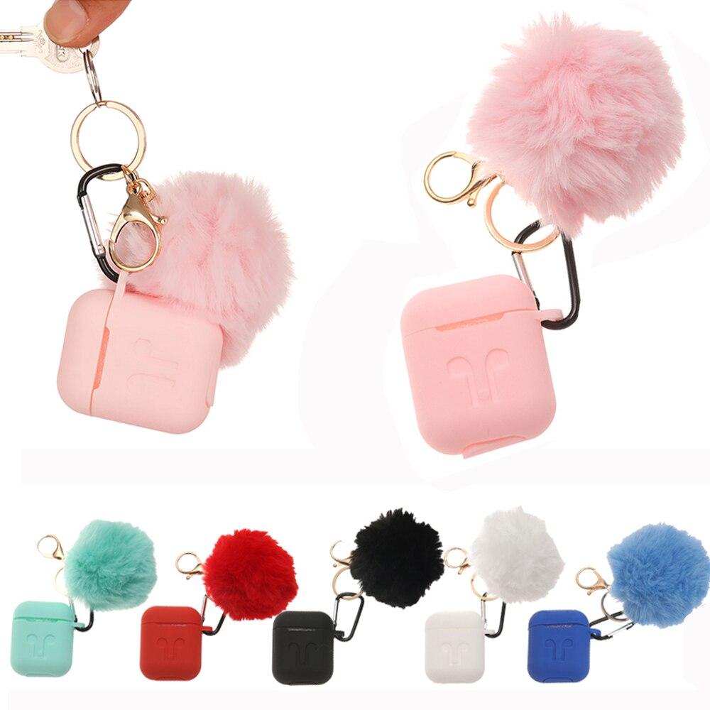 Mode Schutzhülle Für Air Schoten 1/2 Kopfhörer Beutel Tropfen Proof Silikon Abdeckung Nette Fur Ball Keychain Für Airpods/airpods Pro