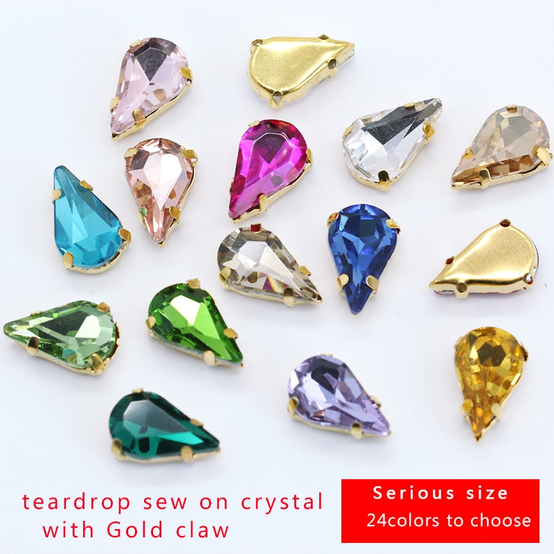 5x8mm 6x10mm 8x13mm 24-cores lágrima pedra de vidro jóias que fazem grânulos costurar em strass de cristal botão base de ouro para roupas