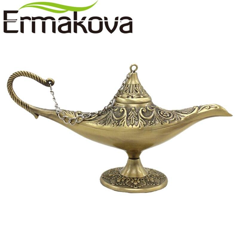 """ERMAKOVA лампа джинна 13 см (5,1 """") мини новая лампа редкая Легенда Волшебные благовония горелки Ретро Джинн желая масляная лампа домашний декор"""