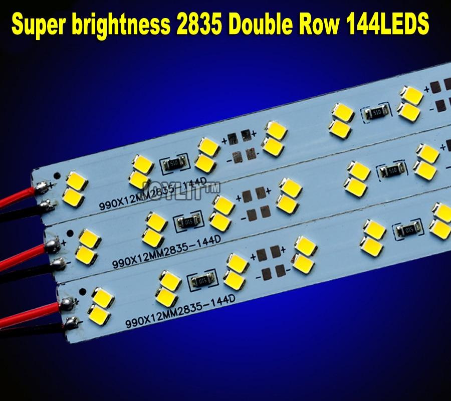 100 unids/lote superbrillo doble fila DC 12V 144 LED SMD 2835 LED duro rígido LED tira de luz con forma de barra para gabinete