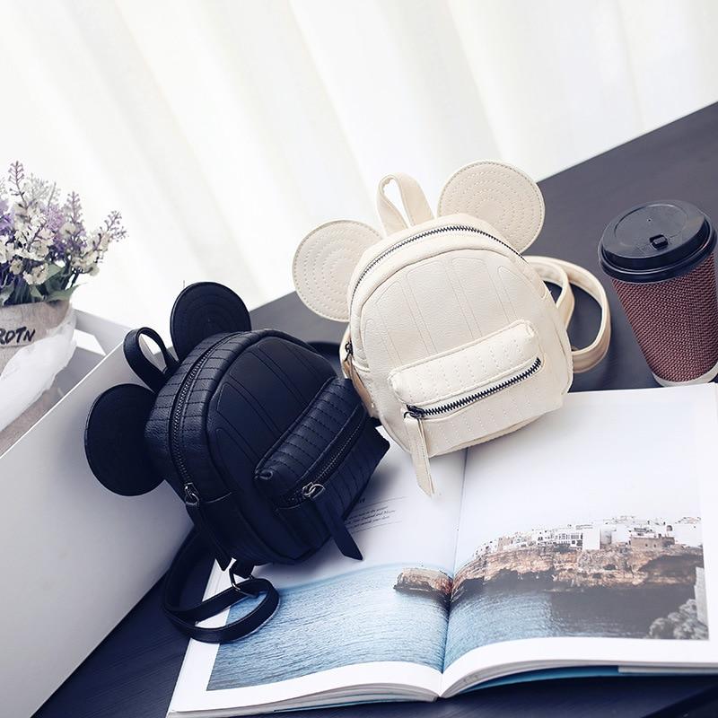 Disney Mickey mouse, dibujos animados, Mini mochila de pu para mujer, bolso de chica, bolsa de moda de señora, bolso de hombro para niños