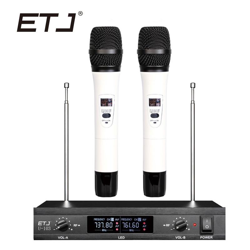 ETJ бренд двойной беспроводной микрофон сменный ручной аккумуляторный беспроводной микрофон U-103