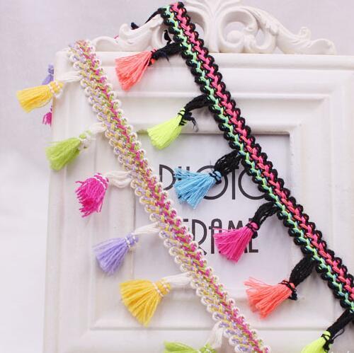 50 yardas de alta calidad colorida escoba colgante borlas de flecos suave encaje de algodón accesorios decorativos bolsas de tela bufanda borla de manualidades