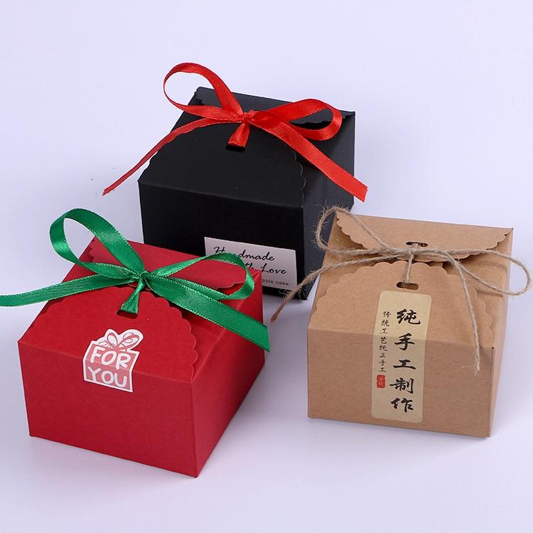 Caja de papel Kraft negro de 12*12*9cm 200 Uds., caja de dulces para regalar, caja de almacenamiento, Envío Gratis wen4314