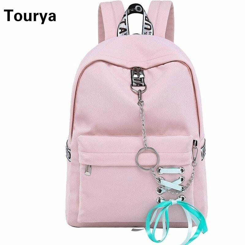 Tourya Fashion Waterproof Nylon Women Backpack Korean Girls Drawstring Bow Chains Design School Bag Bookbags Travel Bagpack