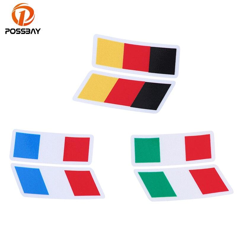 POSSBAY Racing Stripes pegatinas bandera francesa/Italiana/alemana e calcomanías decoración coche guardabarros emblema insignia pegatina motocicleta calcomanías