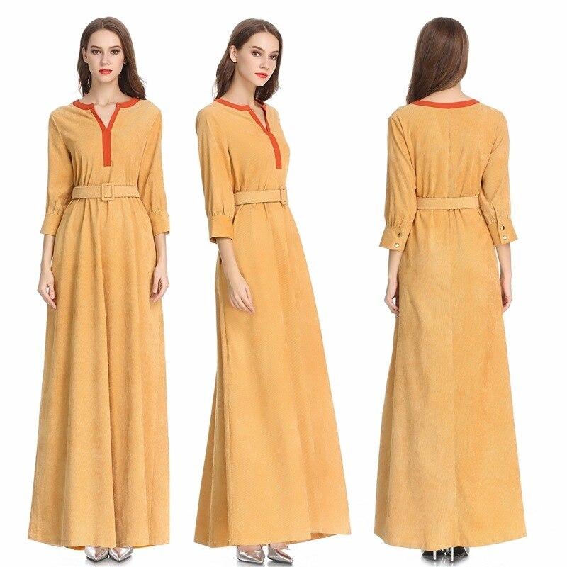Elegant Corduroy Maxi Dress Retro Abaya Full Length Muslim Long Robe Gowns Kimono Ramadan Middle East Arab Islamic Clothing