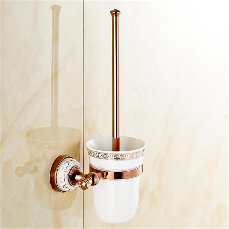 المرحاض فرشاة حامل الحائط النحاس المرحاض فرشاة حامل فرشاة المرحاض حامل السيراميك أدوات تنظيف الحمام مجموعة ارتفع الذهب