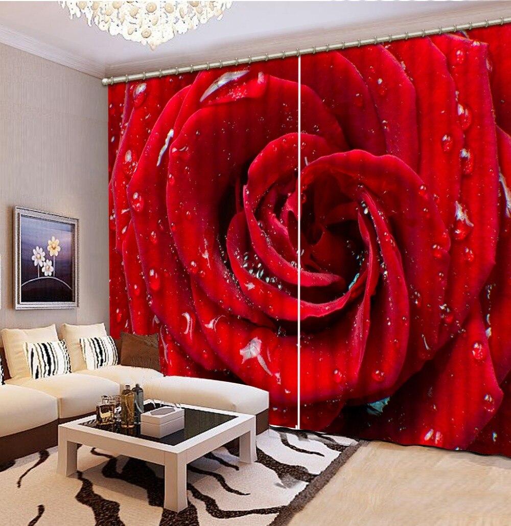 Cortinas 3d de color rosa rojo, cortinas para sala de estar, cortinas para ventana 3D, venta de fábrica diret