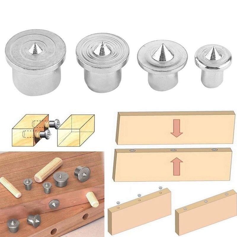 4pcs Center Locator Rotary Tools Wood Dowel Carpentry Silver 4pcs/Set Dowel Drill Tool Parts Carbon Steel Hardware Tool Set
