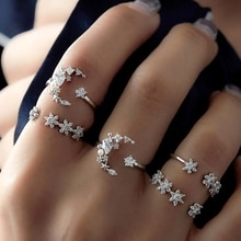 NEUE 5PCS Shiny Kristall Mond Sterne Voll Intarsien Cubic Zirkon Finger Knuckles Ring Set