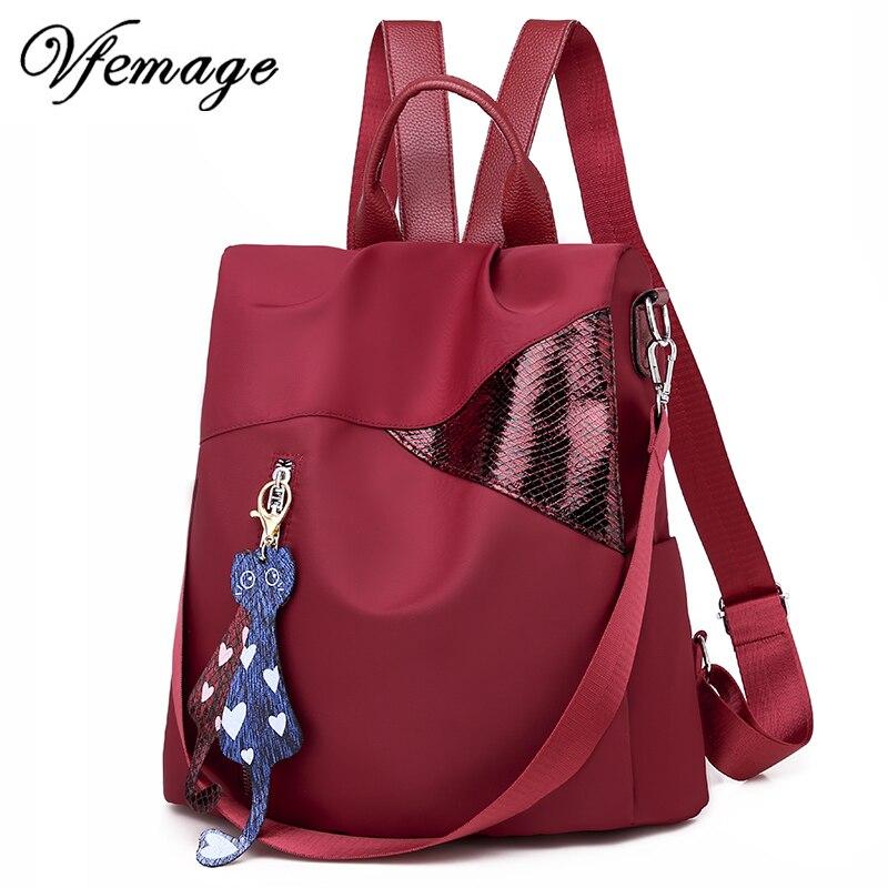Mochila multifunción Vfemage, bolso de hombro para mujer, Mochila pequeña para chicas adolescentes, Mochila con colgante de gato, Mochila para Dos