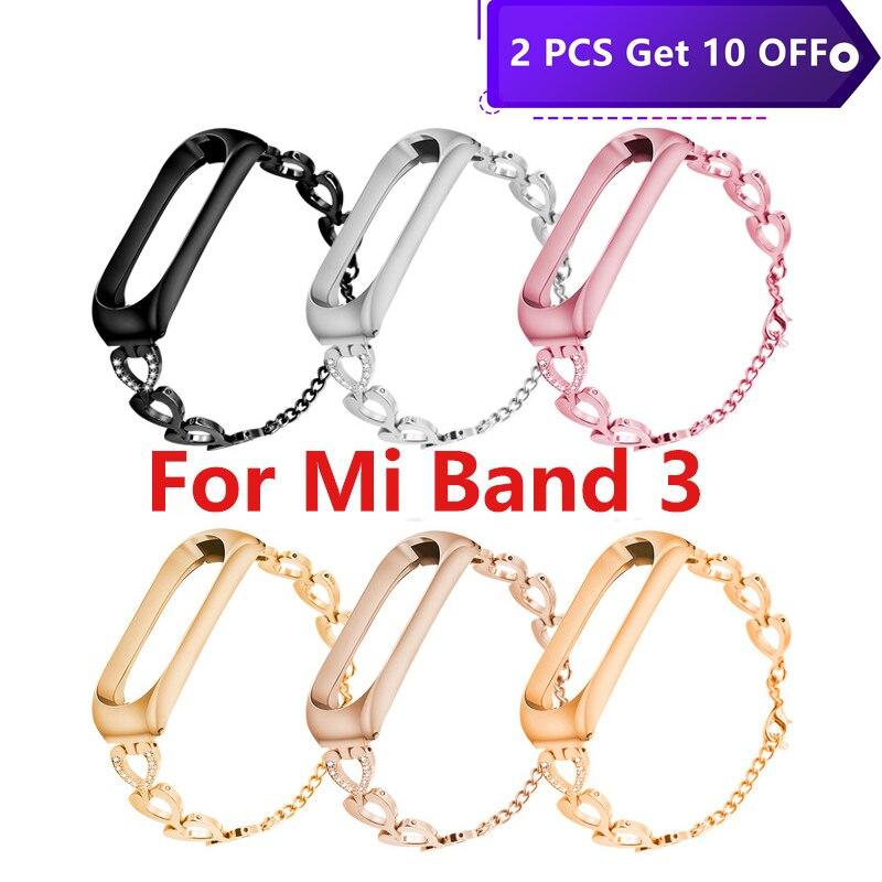 Smart Band Strap Bracelet Wristband Watch Accessories Replacement Metal Wrist Strap For xiomi mi band 4 or 3 xiaomi Strap xaomi