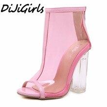 DiJiGirls nouvelles femmes mode Peep Toe talons hauts sandales bottes chaussures femme fête mariage Transparent cristal carré talon bottes