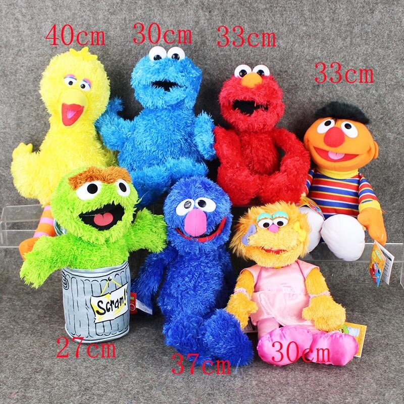 Full set 7pcs/Lot Sesame Street Elmo Cookie Grover Zoe& Ernie Big Bird Stuffed Plush Toy Doll Gift Children