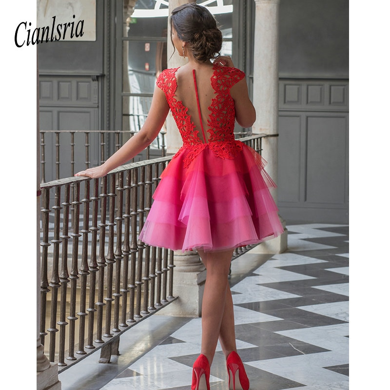 Red 2020 Elegant Cocktail Dresses A-line Cap Sleeves Short Mini Tulle Lace Party Plus Size Homecoming Dresses